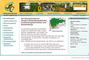 Website Naturpark Barnim