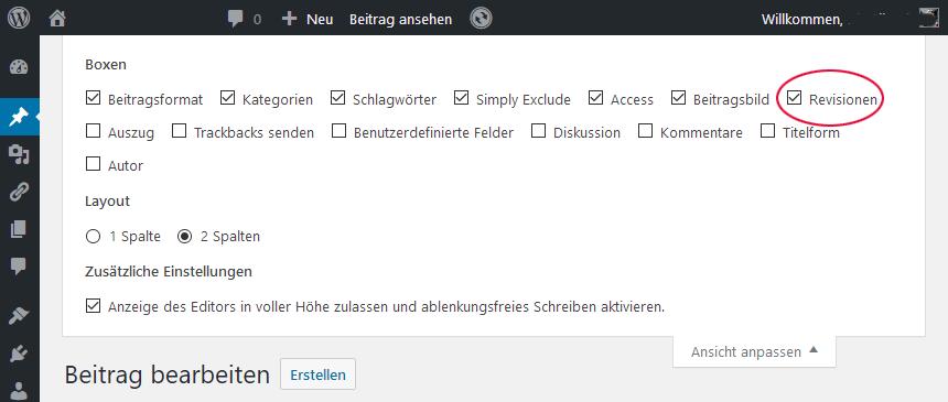 WP-Editor Revisionen