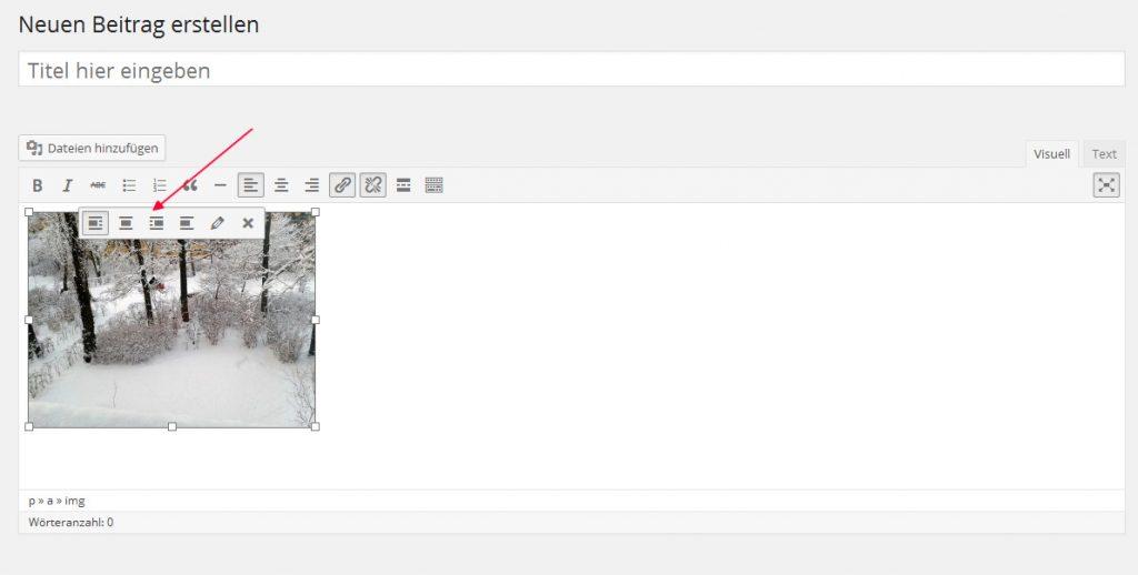 WP-Editor Bilder bearbeiten