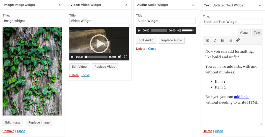 Neue Widgets in WordPress 4.8