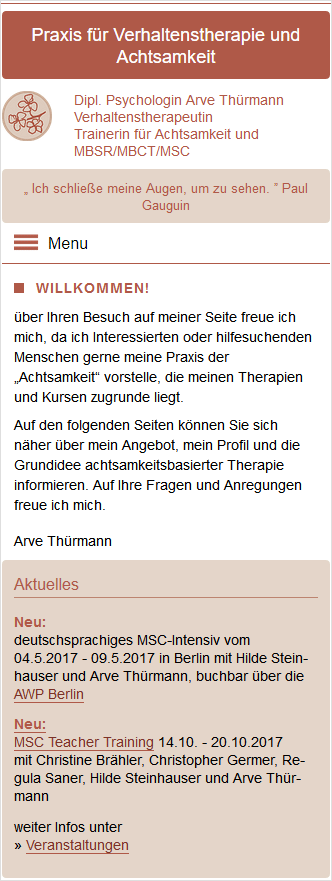 mobile Ansicht Website Achtsamkeit