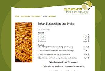 Website der Praxis Elements Physiotherapie