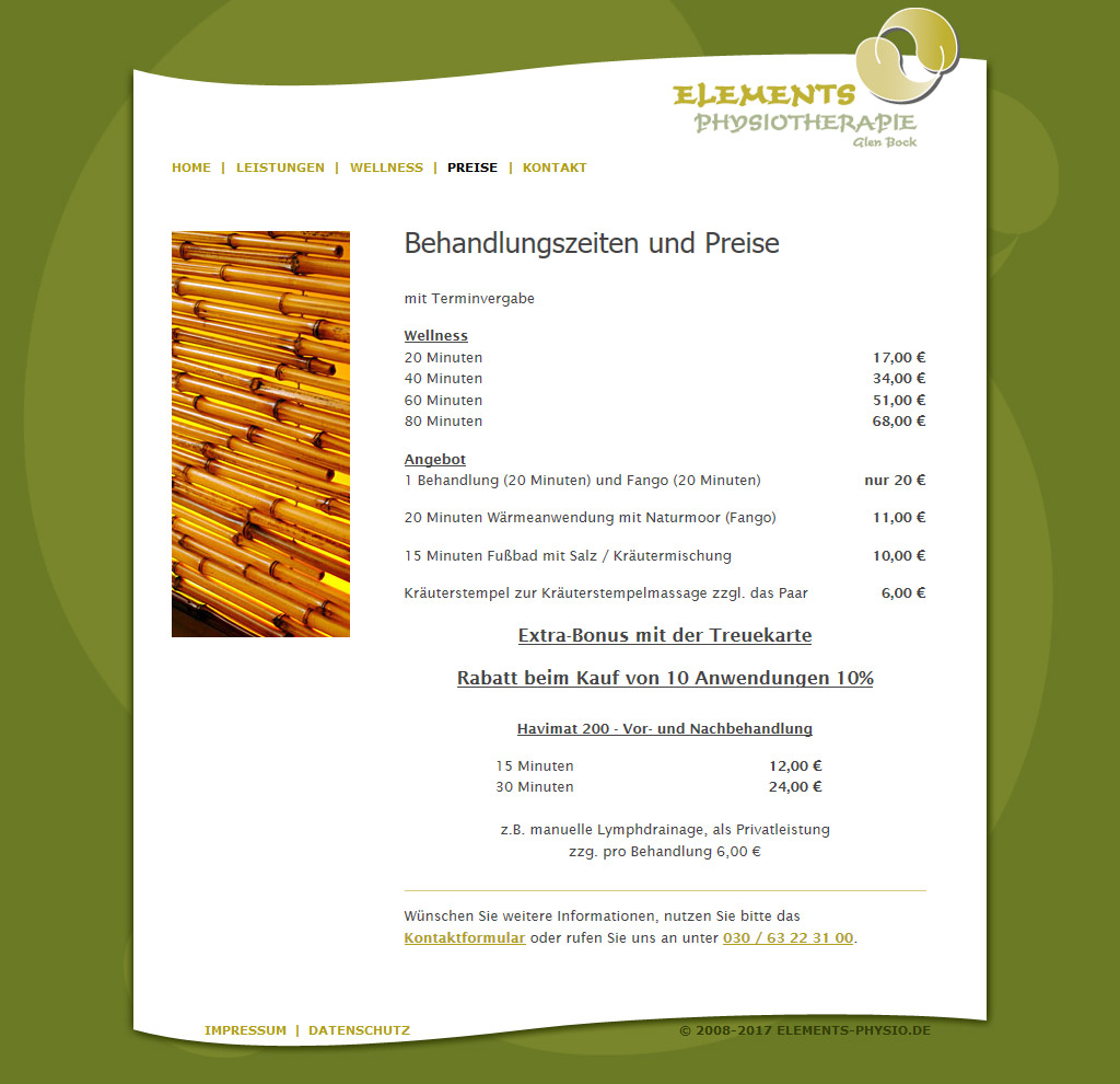 Website der Praxis Elements Physiotherapie