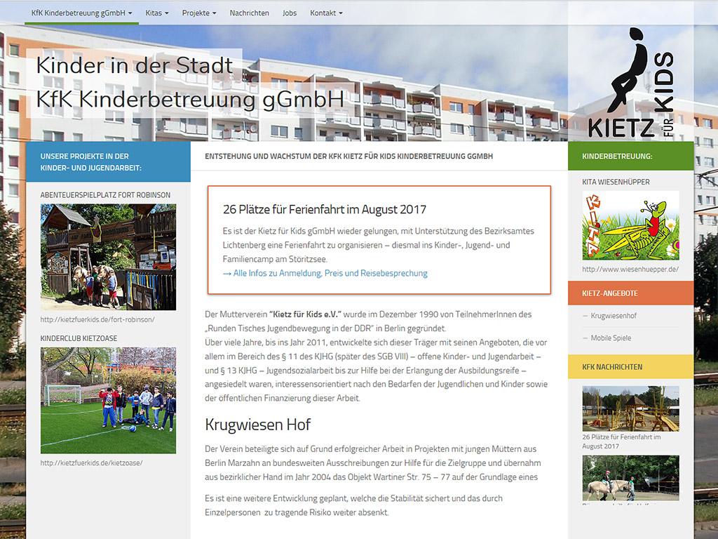 Website Kietz für Kids Kinderbetreuung gGmbH