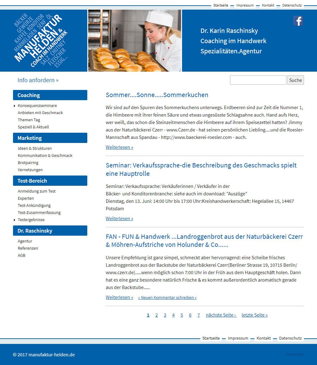 Website der Spezialitäten.Agentur Manufaktur-Helden