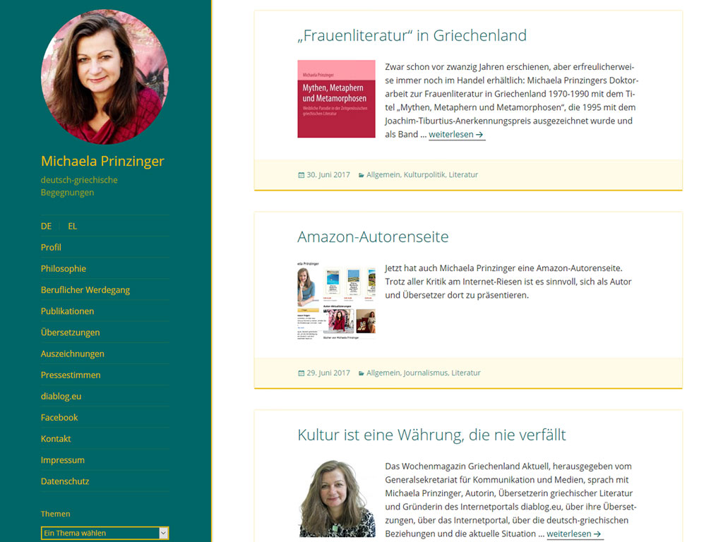 Website der Übersetzerin Michaela Prinzinger