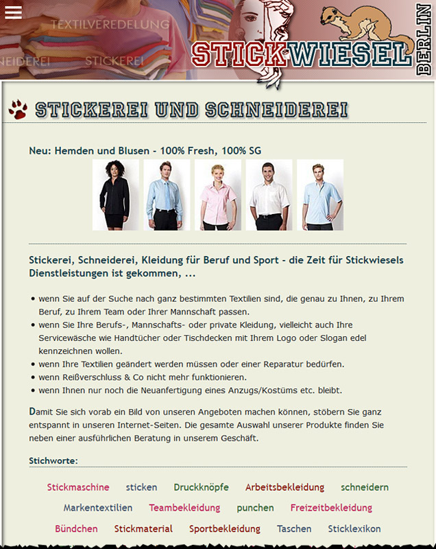 Tablet-Ansicht Web Stickwiesel