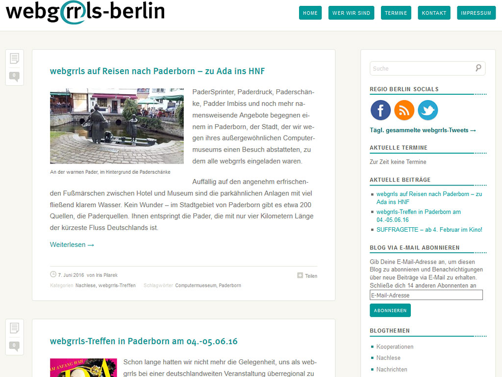 Website webgrrls Berlin