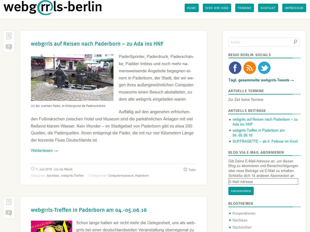 Website webgrrls Berlin