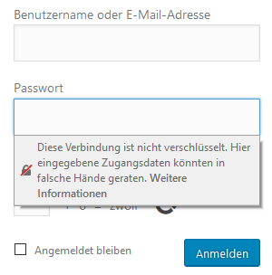 Warnmeldung im Firefox bei Passwortabfrage