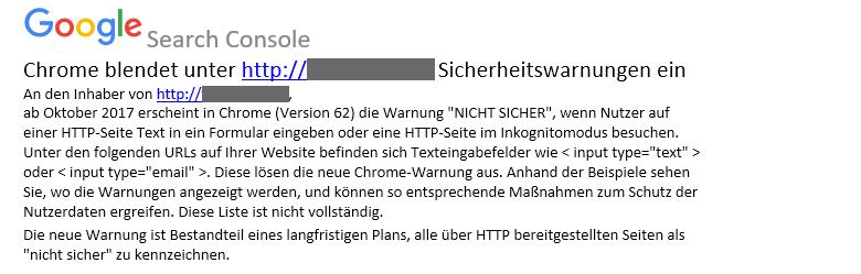 E-Mail von Google Search Console zur fehlenden TSL-Verschlüsselung